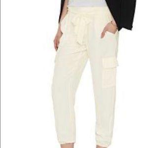 JOIE ALIZA Crop Silk Cargo Pants M cream ivory